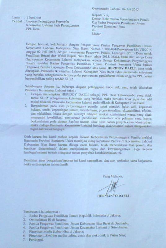 Surat Pengaduan Warga Atas Pelanggaran Panwaslu Kecamatan Lahomi