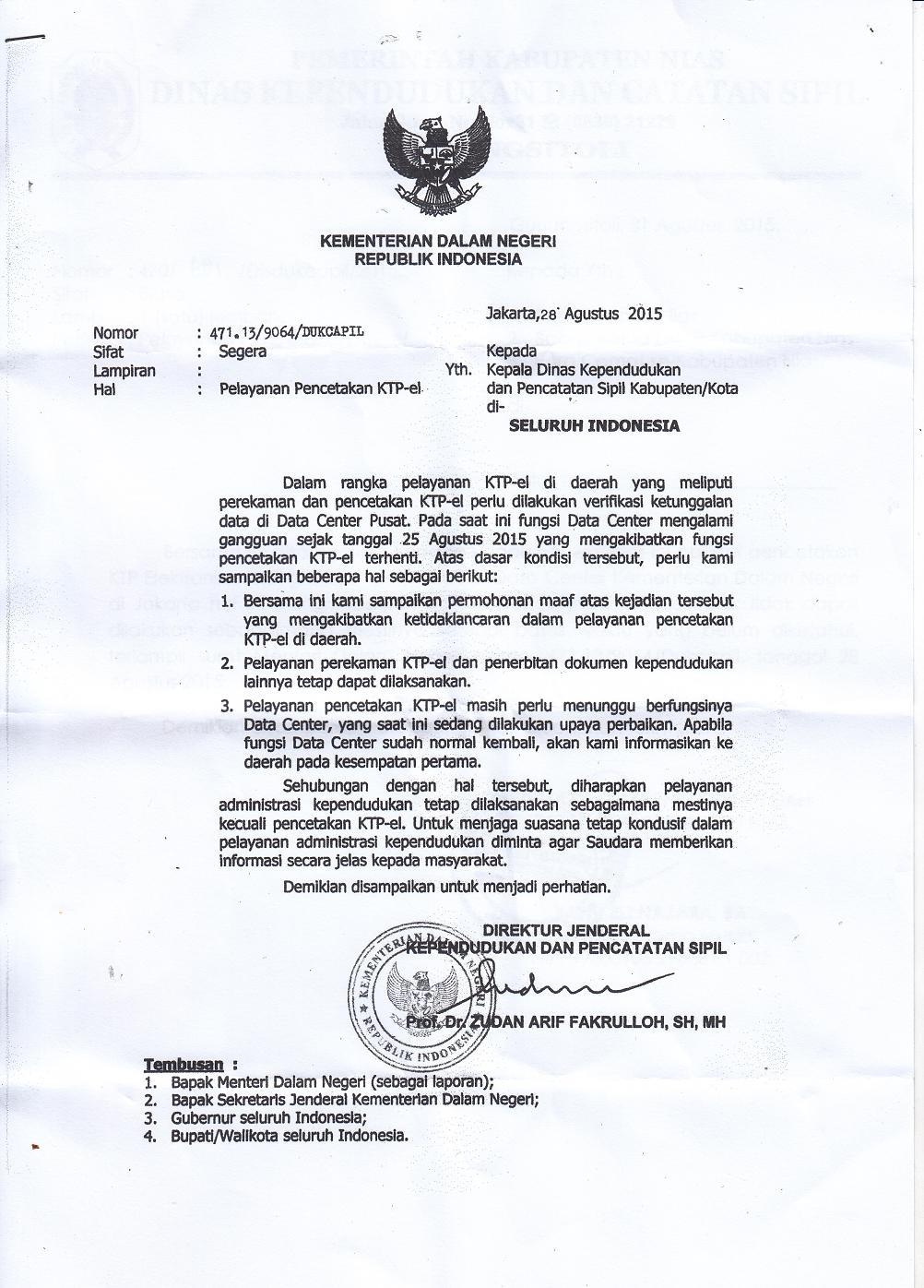 Surat edaran Dirjen Kependudukan dan Pencatatan Sipil.