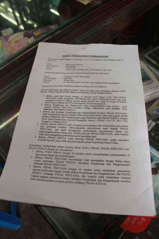 Surat perdamaian antara Yanto dan pihak keluarga korban.