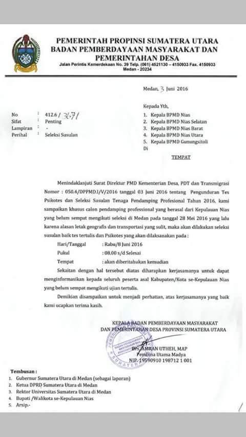 Surat BPMPD Provinsi Sumatera Utara. Foto Kabarnias.com/Onlyhu Ndraha.
